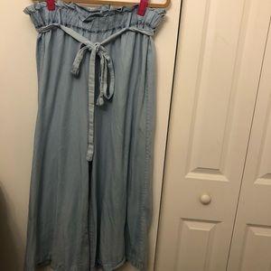 Wide leg paper bag pants